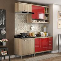 Cozinha Compacta Evelynn 7 Pt 3 Gv Argila E Vermellho
