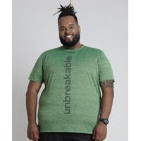 """Camiseta Masculina Esportiva Ace """"Unbreakable"""" Manga Curta Gola Careca Verde"""