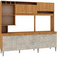 Cozinha Compacta Helen 8 Pt 2 Gv Nogal Com Concreto
