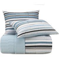 Colcha King Altenburg Malha In Cotton 100% Algodão Fresh Lines - Azul Azul