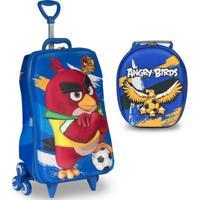 Mochila Escolar 3D Com Rodinhas E Lancheira Maxtoy Angry Birds Futebol - Unissex-Azul Escuro