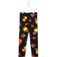 Msgm Kids Legging Com Estampa De Fruta - Preto