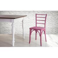 Cadeira De Madeira Para Churrasqueira Torneada Com Encosto E Assento Anatômico Lilás Charlotte - 40,5X49X88 Cm