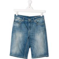 Dondup Kids Bermuda Jeans Com Efeito Desbotado - Azul