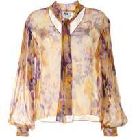 Msgm Abstract Print Sheer Blouse - Estampado