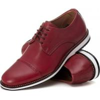 Sapato Derby Couro Tchwm Shoes Masculino Conforto Dia Dia - Masculino-Vermelho