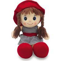 Boneca De Pano 40Cm Unik Toys Vermelha