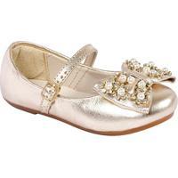 Sapato Boneca Em Couro Com Pedrarias - Ouro Velhoprints Kids