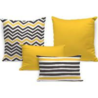 Kit 4 Almofadas Premium Abstrato Stripes Único Love Decor