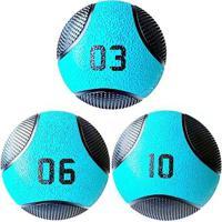 Kit 3 Medicine Ball Liveup Pro 3 6 E 10 Kg Bola De Peso Treino Funcional - Unissex
