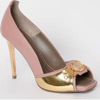 Peep Toe Em Couro Com Aviamentos - Rosa Claro & Dourada