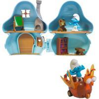 Kit Playset Com Veículo E Mini Figuras - Smurfs - Casa Cogumelo Dos Smurfs Com Clumsy Smurf E Spitfire - Sunny