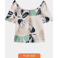 Blusa Plus Size Rayon Ciganinha Cinza