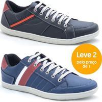 Kit Sapatênis Dexshoes Casual - Masculino-Preto+Azul