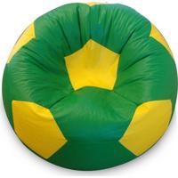 Puff Bola Super Em Corino Verde E Amarelo