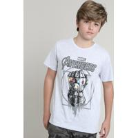 Camiseta Infantil Os Vingadores Guerra Infinita Manga Curta Gola Careca Cinza Mescla Claro