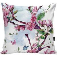 Capa Para Almofada Flowers- Branca & Rosa- 45X45Cm