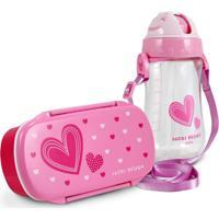 Conjunto Pote Para Lanche E Squeeze Infantil Menina Coração Jacki Design Pink - Kanui