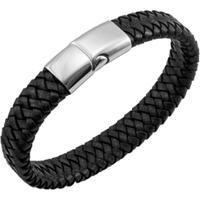 Bracelete De Aço Inox Tudo Joias Com Couro Antique Black - Unissex