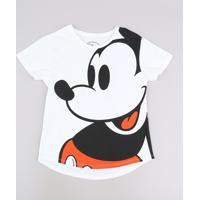Blusa Juvenil Mickey Manga Curta Off White