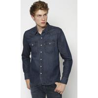Camisa Jeans Com Bolsos- Azul Escurolevis