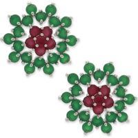 Brinco Flor Com Banho Prata E Cravejado Com Zircônias Verdes E Rosas