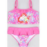 Biquíni Infantil Pequena Sereia Ariel Com Babado Proteção Uv50+ Rosa