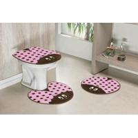 Jogo De Banheiro Guga Tapetes Formato Joaninha 03 Peças Rosa