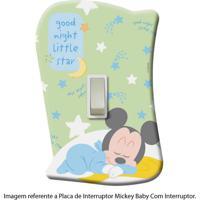 Placa De Interruptor Mickey Baby Com Interruptor Startec Verde/Azul