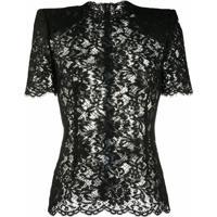 Dolce & Gabbana Blusa Com Ombros Estruturados E Renda - Preto