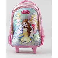 Mochila Escolar Infantil Com Rodinhas Princesas Rosa - Único