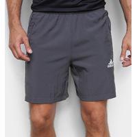 Short Adidas D2M Plano Masculino - Masculino-Cinza