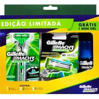 Kit Aparelho De Barbear Gillette Mach3 Sensitive 1 Unidade + 2 Cartuchos Gillette Mach3 Sensitive + Grátis Gel De Barbear 71G