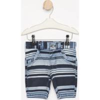 Bermuda Listrada Com Bolsos- Azul & Azul Escuro- Loolook Jeans