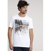 Camiseta Masculina Turma Do Mickey Manga Curta Gola Careca Off White