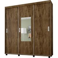 Guarda-Roupa Casal Com Espelho Valença 3Pt 4Gv Madeira Rústica