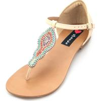 Sandalia Rasteira Love Shoes Fechada Strass Colorido Bege