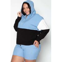 Jaqueta Almaria Plus Size Leeban Capuz Linho Azul