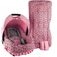 Conjunto Capa Para Bebê Conforto Com Acolchoado Extra E Capa De Carrinho - Alan Pierre Baby - Panda Rosa