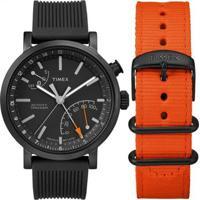 Relógio Timex Metropolitan Twg012600Pl/I 42Mm Silicone - Masculino-Preto+Laranja