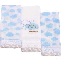 Kit 3 Fraldas De Boca Minasrey Alvinha Nuvens Azul