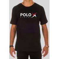Camiseta Masculina Básica Polo Xtreme Gola Redonda Casual Preto
