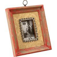 Porta-Retrato De Madeira Mémoire Decorativo Com Pedras