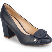 Sapato Tradicional Em Couro Com Recorte Frontal - Azul Mcapodarte