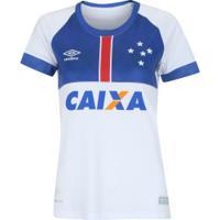 Camisa Do Cruzeiro Nations Blar Vikingur Umbro Com Patrocínio - Feminina - Branco/Azul