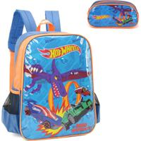 Mochila Infantil Hot Wheels Is34461Hw Com Estojo
