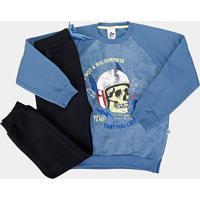 Conjunto Infantil Andritex Longo Moletom - Masculino-Azul+Cinza