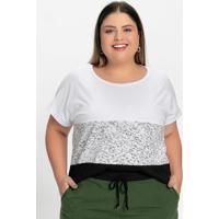 Blusa Branca Com Recortes Frontais Plus Size