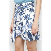 Saia Maria Filó Curta Floral Transpassada Babados - Feminino-Azul