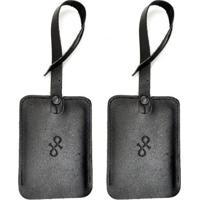 Kit 2 Tag De Mala Em Couro Hendy Bag Masculino - Masculino-Preto
